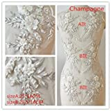 Hand Beaded Flower Sequence 3D Lace Applique Motif Sold by 3 Pairs Great for DIY Decorated Craft Sewing Costume Evening Bridal Top A6 (Champagne) (Color: Champagne)