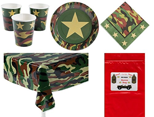 Military Camouflage Soldier Decorations Tableware Boy's or Girl's Party Pack Bundle (1 Table Cover, 8 Army Dinner Plates, 16 Luncheon Napkins, 8 Drinking Cups & Bonus Bag)