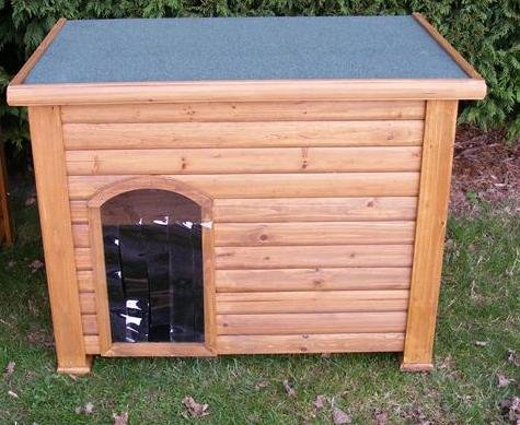 WOODEN DOG KENNEL MEDIUM with Hinged Roof+ Waterproof Entrance