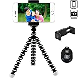 FLFLK Flexible Octopus Camera Tripod for Phone, Digital and Video Cameras with Universal Clip and Remote (Black White)