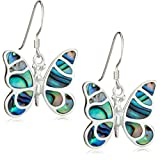 Silver Pave Shell Butterfly Drop Earrings