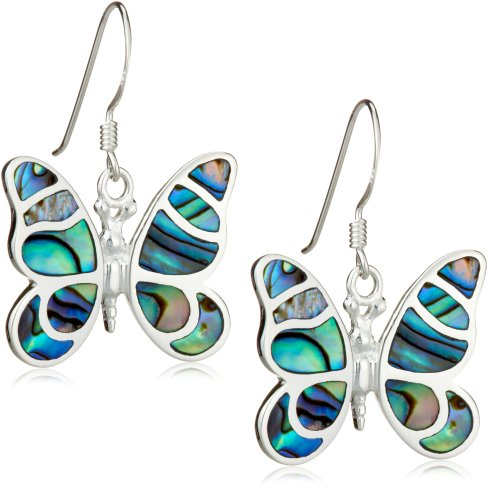 Silver Pave Shell Butterfly Drop Earrings
