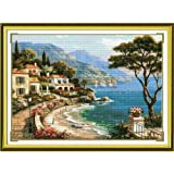 Happy Forever Cross Stitch Kits 11CT Stamped Patterns for Kids and Adults, Preprinted Embroidery kit for Beginner, Scenery View and Landscape (F019 Harbor of Love, Size 27''x22'') (Color: F019 Harbor of Love, Size 27''x22'')