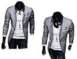 2014 Neu Herren Slim Fit Stylish Sakko 3 Farben Blazer Freizeit Business Jacke Anzugsjacke Herren Slimfit Blazer Sakko Jacket Jacke Anzugsjacke Jacket 2014 Slim Fit Jackets Pure Color Simple Casual Formal Suit Herren Cardigan Stylischer Slim Fit Herrenhemd Langarm Herrenkleidung Stilvolles Design Herrenjacke Blazer Herren Sakko Jacket Blazer Freizeit Jacke Slimfit Herren (Grau L)
