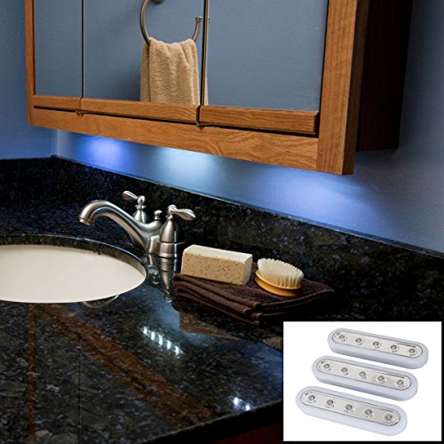 Hampton Direct Set Of 3 -5 Led Under Cabinet Push Tap Touch Stick On Light White