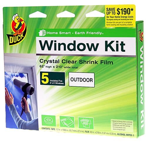 Duck Brand 1299529 Indoor 5-Window Shrink Film Kit, 62-by-210-Inch