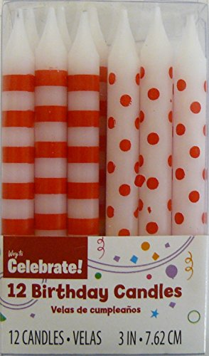 12 Red Polka Dot & Stripes Birthday Cake Candles - 1