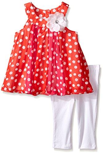 Kids Headquarters Girls' Printed Georgette Tunic with White Capri, Multi, 2T