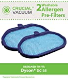 2 Dyson DC30, DC31, DC34, DC-35 (DC35) Animal DC44 Digital Slim Washable Pre-Filter Designed to Fit Dyson Animal Vacuum Cleaners, Compare to Dyson Pre-filter Part # 917066-02 , 91706602, Designed & Engineered By Crucial Vacuum