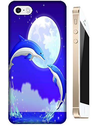 Cartoon dolphins jump out and kiss under the moon beautiful cell phone cases for Apple Accessories iPhone 5/5S