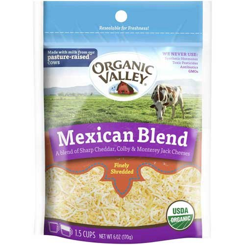 Organic Valley Shredded Mexican Blend Cheese, 6 Ounce -- 12 per case. (Mexican Cheese Blend compare prices)
