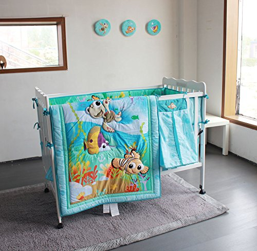 New Baby Boy Girl Neutral Animal Ocean Nemo 11pcs Crib Bedding Set with Bumper