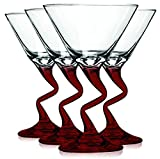 Libbey Red Z Shaped Stem Martini Glasses with Colored Accent - 9 oz. Set of 4- Additional Vibrant Colors Available by TableTop King
