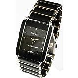 ・レディース 腕時計 アナログ モノトーン&ストーンスタイル腕時計 上品 ラインストーン ブラック