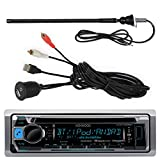 Kenwood KMR-D365BT Marine Yacht CD MP3 Bluetooth Stereo iPod iPhone Stereo With Enrock Marine Flexible AM/FM Radio Antenna And Enrock Universal USB 3.5mm Auxiliary Interface Mount & Cable