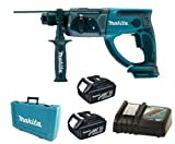 MAKITA 18V LXT BHR202 BHR202Z BHR202RFE SDS HAMMER DRILL, 2 x BL1830 BATTERIES, DC18RC CHARGER AND CASE - PF TRADE