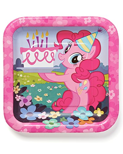 """American Greetings My Little Pony 7"""" Square Plate (8-Count) - 1"""