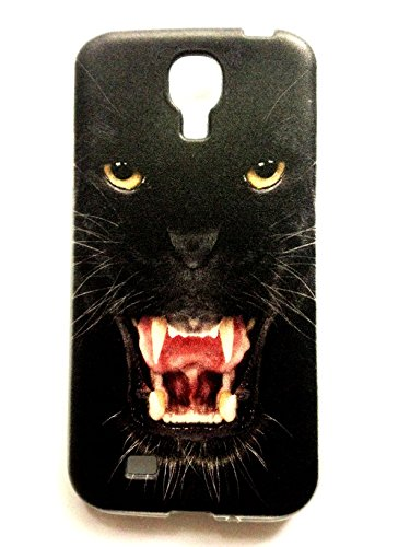 """TPU Silikon Handy Back Case mit Motiv """"Black Panther"""" für Samsung Galaxy S4 SIV Cover Schale Tasche Schutz Hülle Bumper Etui"""