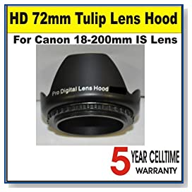72mm Tulip Lens Hood for Canon 18-200mm IS Lens + 3 Year Celltime Warranty