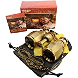 HQRP 4 x 30 Opera Glass Binocular Antique Style Golden with Golden Trim w/ Necklace Chain 4x Extra High Magnification plus Coaster