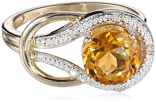 Citrine and Diamond Love Knot Ring in 10kt Yellow Gold (0.03 cttw, I-J Color, I2-I3 Clarity), Size 7