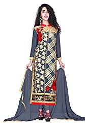 Styllaz creation grey chanderi cotton embrodaired dress material