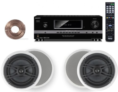 """Sony Hd Digital Cinematic Sound 700 Watts 5.2 Channel 3D A/V Receiver + Yamaha Natural Sound Custom Install In-Ceiling 2-Way 120 Watts 2 Speaker Set (Pair) With 1"""" Tweeters & 8"""" Woofer + 100Ft 16 Awg Speaker Wire"""