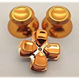 XFUNY(TM) Metal Bullet Buttons ABXY Buttons + Thumbsticks Thumb Grip and Chrome D-pad for Sony PS4 DualShock 4 Controller Mod Kit (Gold) (Color: Gold)
