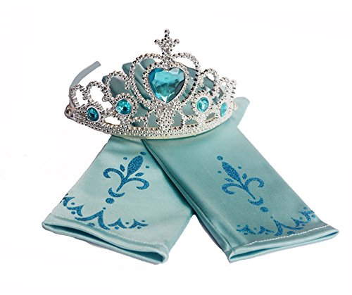 Disney Frozen Elsa Tiara Crown & Flower Gloves Set Cosplay Party Costume