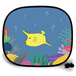 123t ANI-MATES UNDER THE SEA COW FISH DESIGN PLAIN Sunshade x 2