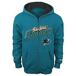 NHL San Jose Sharks 8-20 Youth Sportsman Full Zip Fleece Hoodie, San Jose Sharks, X-Large