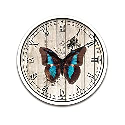 Wooden Like Pretty Cute Attractive Christmas Home Decor Decorative French Country Tuscan Style Wall Clock Vintage Butterfly Print Electric Battery Round Clock For Kitchen Living Room-Butterfly-036