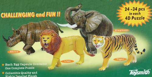 Cheap Toysmith 4D Puzzle Wild Animals, Puzzle Animal Figurines, Lion, Elephant, Rhino, Tiger (B003KEKVUM)