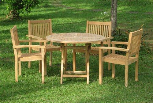 BENTLEY GARDEN SOLID TEAK 5 PIECE PATIO FURNITURE SET - ROUND TABLE & 4 STACKING CHAIRS