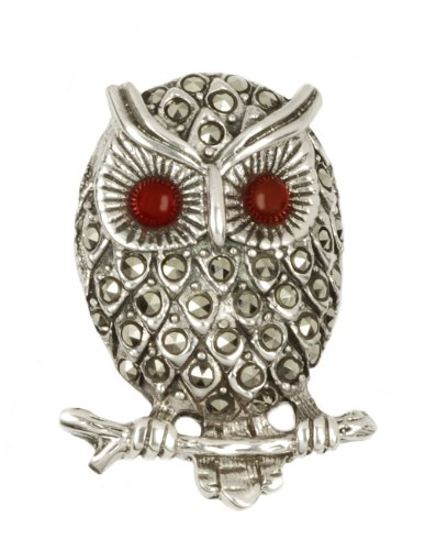 Perched Marcasite Owl with Carnelian Eyes Pin