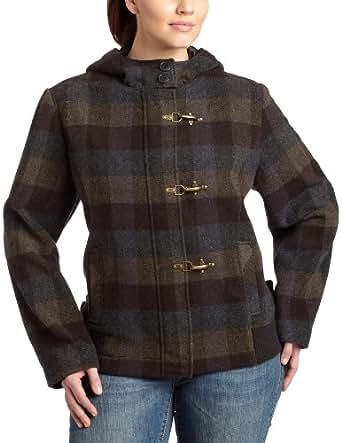 Hydraulic  Juniors Plus Size Clip Closure Wool Blend Jacket, Black Plaid, 2x