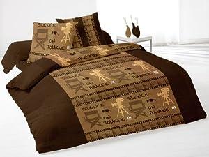 soleil d 39 ocre 635613 parure housse de couette silence chocolat cuisine maison. Black Bedroom Furniture Sets. Home Design Ideas