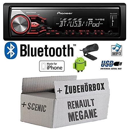 Renault Megane & Scenic 1 - Pioneer MVH-X380BT - MP3/USB Bluetooth Autoradio - Einbauset