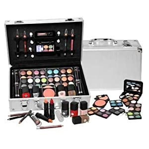 Shany Cosmetics Carry All Train Case With Makeup And Reusable Aluminum Case