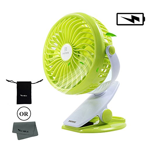 REMAX USB Fan Battery Rechargeable 2200mAh 18650 Mini Electric Fan 4.5h 4 Blades Clip on Desk Silent Blower (Clip Fan Battery compare prices)