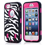 JIAXIUFEN Hard Case Spot Stripes Combo Hybrid Defender High Impact Body Armor box Pc&Silicone Material for Apple Iphone 5 5s with Screen Protector and Stylus(Black Back Rose Frame White Zebra Line)