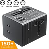 Travel Adapter [110-240V] PowerBear Universal Wall Charger with USB Ports and AC Power Plug | All-in-One International Power Adapter with Protection Fuse - USA/EU/UK/AUS/China - [24 Month Warranty]