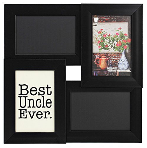 Uncle Gifts Best Uncle Ever Chalkboard Picture Frame Black Wood 4-Panel 4x6 Photo Frame (Uncle Frame compare prices)