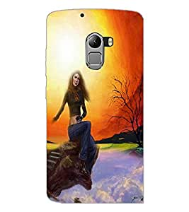 PrintDhaba Sitting Girl D-4190 Back Case Cover for LENOVO K4 NOTE A7010 (Multi-Coloured)