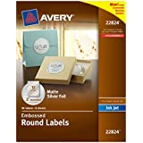 Avery Embossed Round Labels, 2-Inch Diameter, Matte Silver Foil, 96 Labels (22824)