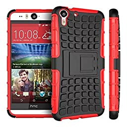 For HTC Desire Eye, Urvoix(TM) Hybrid Heavy Duty Dual Layer Shock Proof Rugged Shell Grenade Grip Tyre Textured Kickstand Case Cover Red