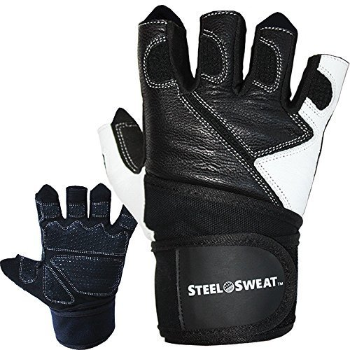 Steel Sweat Weightlifting Gloves with Wrist Wrap Support for Workout, Gym and Fitness Training - For Men and Women who love Weight lifting - Leather LRG