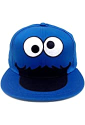 L/XL Sesame Street Big Face Cookie Monster Fitted Hat Cap Large - Extra Large