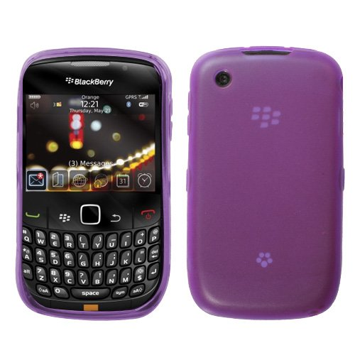 MyBat Semi Clear Rubber Purple Crystal Skin Case For BlackBerry Curve 3G