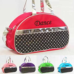 Dance Bag - Sporty Girls Kids Gymnastic Cheer Nylon Half Moon Laser Sequined Silver from 1 Perfect Choice